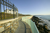 Fence Lines the Cliff Walk, Cliffside Mansions of Newport Rhode Island Photographic Print
