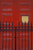 Red Door and Wrought Iron Gate at a West Village Boarding School, NY Photographic Print