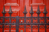 Spike Wrought Iron Fence in Front of Red Door at Boarding School, NY Photographic Print