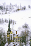 Church with Black Steeple in Winter Snow in East Orange, VT Photographic Print