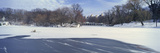 Panoramic View of Frozen Pond in Central Park, Manhattan, New York City, Ny after Winter Snowstorm Photographic Print