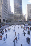 Rockefeller Square with Snowy Ice Skating Rink and Christmas Tree in Mid-Town Manhattan, NY Photographic Print