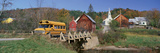 Yellow School Bus Crossing Wooden Bridge over Waits River in Autumn, VT Photographic Print