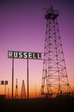 Obsolete Oil Rigs at Sunset, Russell, KS Photographic Print
