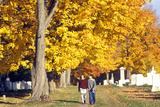 People Walking in Brattleboro Cemetery in Autumn, VT Photographic Print