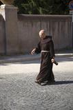 Priest Walking Near Villa D'Este in Tivoli Near Rome, Italy, Europe Photographic Print
