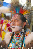 Close-Up Portrait of Native American in Full Regalia Dancing at Pow Wow Photographic Print