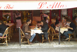 Outdoor Seating under Awning at Café, Paris, France Photographic Print