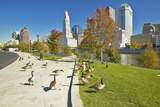 Canadian Geese and Scioto River and Columbus Ohio Skyline Photographic Print