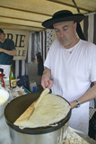 Crepe Stand with Man Making Crepe at the Flea Market, Paris, France Photographic Print