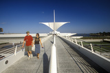 Couple Walking around Exterior of Milwaukee Art Museum on Lake Michigan, Milwaukee, WI Photographic Print