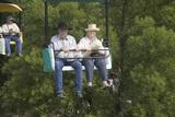 Cowboy Couple on Chair-Lift at Iowa State Fair, Des Moines, Iowa, August, 2007 Photographic Print