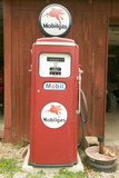 Antique Mobil Gas Pump in Front of Red Barn Off Manchester Road, Missouri Photographic Print