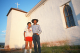 A Father and Son at a Church, NM Photographic Print