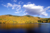 View of Woodstock, Vt on Lake in Autumn Photographic Print