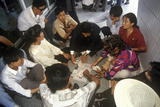 Card Players Waiting at Kunming Airport in Kunming, Yunnan Province, People's Republic of China Photographic Print