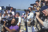 Photographers Covering the Clinton/Gore Presidential Campaign, Waco, Tx Photographic Print