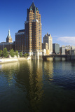 Milwaukee Skyline with Menomonee River in Foreground, WI Photographic Print