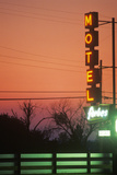 Motel's Neon Lights at Dusk, MI Photographic Print