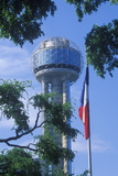 View of Reunion Tower in Dallas, Tx Through Trees with State Flag Photographic Print