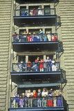 Crowd of People on Fire Escape Viewing Macy's Parade, Thanksgiving, New York, NY Photographic Print