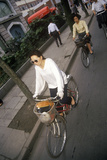 Bicycle Riders in Shanghai, People's Republic of China Photographic Print