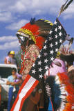 A Native American with an American Flag at the Corn Dance Ceremony, Santa Clara Pueblo, NM Photographic Print