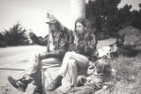 A Hippie Family Hitchhiking on Highway 1, Big Sur, CA Photographic Print