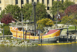 Replica of Columbus' Ship the Santa Maria on Scioto River, Columbus Ohio Skyline in Autumn Photographic Print