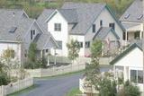 New England Neighborhood with White Picket Fences Photographic Print