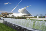Fountain and Sculpture at Entrance of the Milwaukee Art Museum on Lake Michigan, Milwaukee, WI Photographic Print