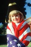 A Little Girl Draped in an American Flag, Santa Monica, CA Photographic Print