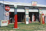 Antique Gas Station Pumps and Signs, Central Tx Photographic Print