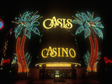 Neon Lights Outside of Oasis Casino and Hotel at Night, Las Vegas, NV Photographic Print