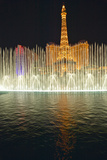 Bellagio Casino Water Show at Night with Paris Casino and Eiffel Tower, Las Vegas, NV Photographic Print