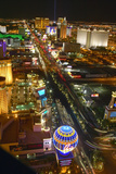 Aerial View at Night from Eiffel Tower of Las Vegas Strip and Neon Lights, Las Vegas, NV Photographic Print