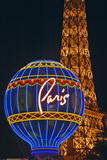 Paris Casino Balloon and Eiffel Tower Neon Lights, Las Vegas, NV Photographic Print
