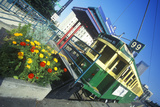 Street Car and Flower Box at 'End of Line', Seattle, Wa Photographic Print