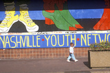 Nashville Youth Network Mural with Young African American Girl in Foreground Photographic Print