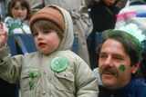 Father and Son Enjoying the 1987 St. Patrick's Day Parade, Ny City Photographic Print