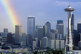 Rainbow over Seattle, Wa Skyline with Space Needle Photographic Print