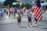 Boy Scout Troop Color Guard Leading the 4th of July Parade, Pacific Palisades, CA Photographic Print