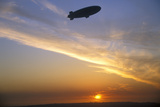 Blimp Silhouette Against a Japanese Sunset Photographic Print