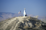 Small Teepee and American Flag on Hill in Northwest Mt Photographic Print