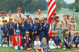 Boy Scout and Cub Scout Troops at Veteran's National Cemetary, Los Angeles, CA Photographic Print