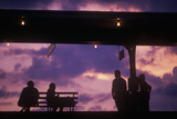 Silhouette of Commuters on Train Platform, Chicago, IL Photographic Print