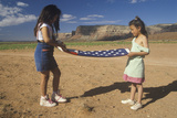 Two Girls Folding the American Flag, Lee Ranch, Southern Ut Photographic Print