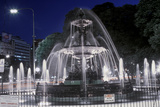 Water Fountain on Avenida 9 De Julio at Night, Widest Avenue in the World, Buenos Aires, Argentina Photographic Print