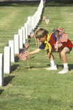 Cub Scout Putting American Flags on Veterans Graves, Los Angeles, CA Photographic Print