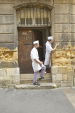 Chefs Standing Outside Back Restaurant Door, Aix En Provence, France Photographic Print